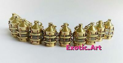 LOT OF 10 Brass Lantern key rings Golden Finish key chains Steampunk Style Rings
