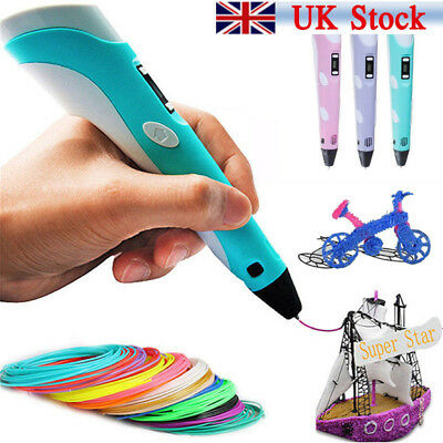 3D Doodle Printing Pen Modeling + UK Plug +3 Free PLA Filaments as Gift Set New