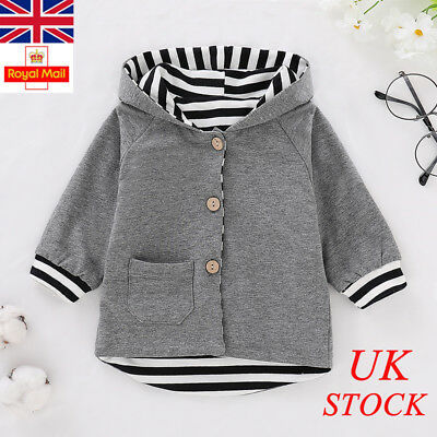 UK Baby Boys Striped Hooded Hoodies Newborn Infant Outwear Tops Clothes Outfits