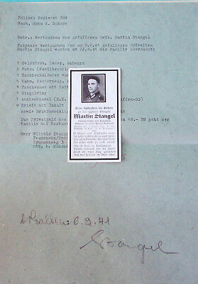 Letter by Captain of Police Regiment - valuables of fallen soldier 1941
