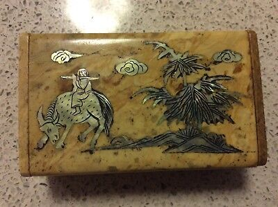 Stone/ Ceramic box, hinged lid, inlaid with Mother of pearl.