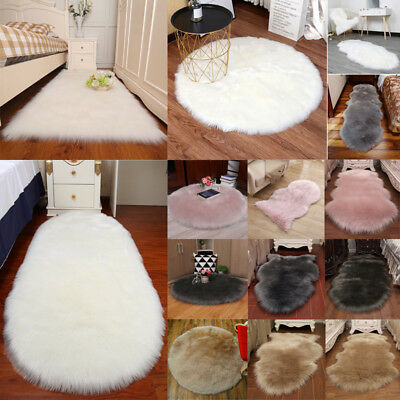 Anti-Skid Fluffy Rugs Faux Fur Sheepskin Shaggy Carpet Floor Mat Plush Hairy Rug