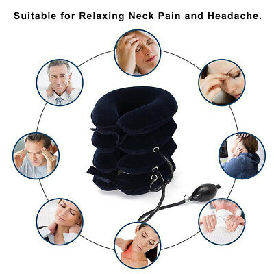 Air Inflatable Pillow Cervical Neck Head Pain Traction Support Brace Device 2018