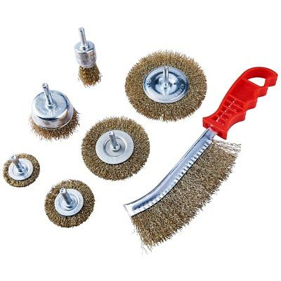 7pc Amtech Wire Brush Set Drill Wheel Cup Flat Metal Cleaning Rust Sanding 1/4""