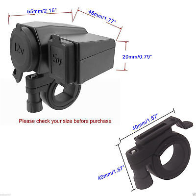 Motorcycle 12V USB Charger Power Adapter Socket Phone GPS Cigarette Lighter UK