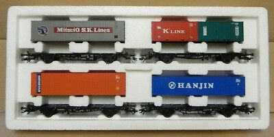 Marklin HO Gauge DB 4pc Container Transport Freight Wagon Set 4515