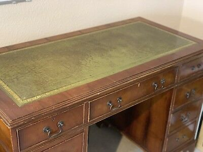 Antique Twin Pedestal Desk Regency Style With Leather Top