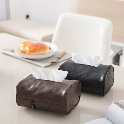 Tissue Boxes Napkin Holder Auto Home Use Paper Cover Case Holder PU Leather AU