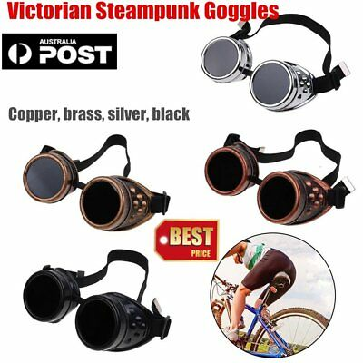 Vintage Victorian Steampunk Goggles Glasses Welding Cyber Steam Gothic PM