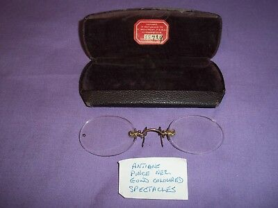Pince Nez Spectacles / Frameless / Gold Plated / Cased / Vintage
