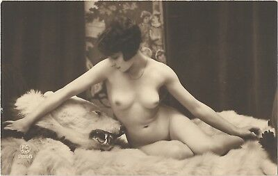 Rare original old French real photo postcard Art Deco nude study 1920s RPPC #326