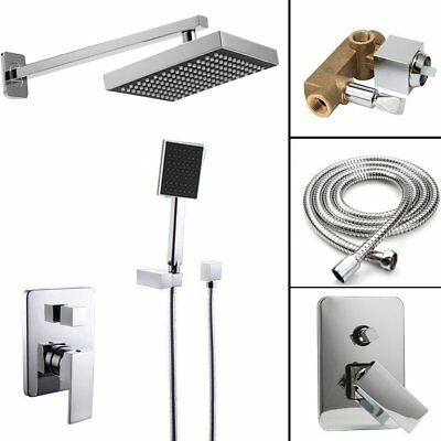 8'' Chrome Rain Shower Kits Set Wall Mount Shower Head System Mixer Faucet BE