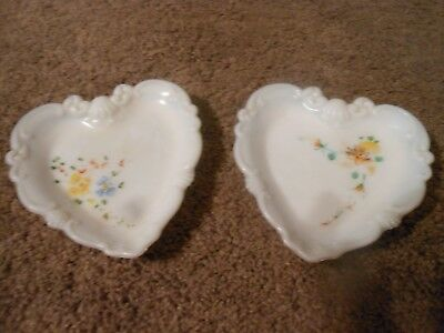 2 Pretty Vintage Heart Shaped Milk Glass Dishes, Hand Painted Flowers, Shells