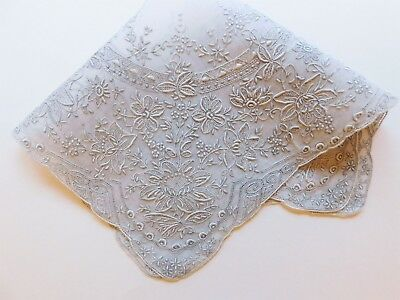 MADEIRA Pearl Grey Elaborate Museum Quality Embroidery Handkerchief