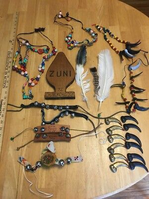 Vintage Lot Of YMCA Indian Guides Memorabilia-1970s-beads,bear claws,ankle bells