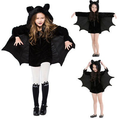Kids Child Halloween Bat Costume Boys Girls Fancy Dress Outfit Vampire Jumpsuit