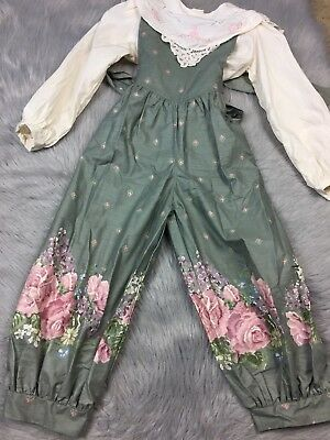 Daisy Kingdom Girls Sz 6 Green Cream Pink Floral 2 Piece Shirt Jumpsuit Romper