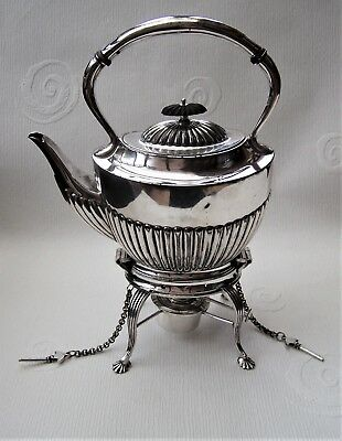 Antique Victorian Silver Plated Spirit Kettle, Stand & Burner Pre 1897 J Deakin