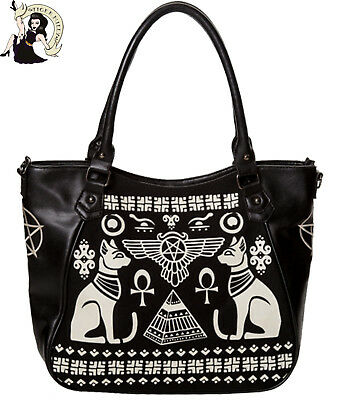 BANNED ANUBIS SPHYNX cat SHOULDER BAG alternative BLACK/CREAM HANDBAG