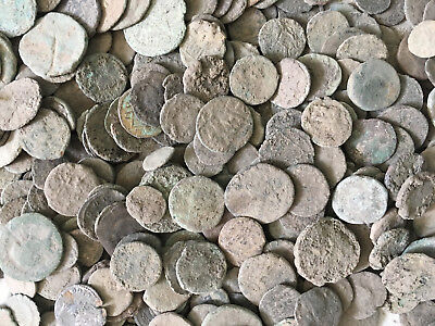 Lot OF 100 Roman Unclean Coins , Perfect round coins & Fully Unclean