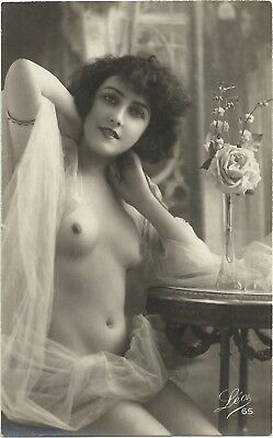 Rare original old French real photo postcard Art Deco nude study 1920s RPPC #296
