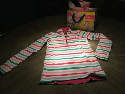 Joules Zipped Girls Striped Top/sweatshirt Age 11-12 Years
