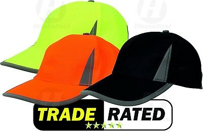 Hi Viz Neon Reflective High Vis Baseball Cap Fluorescent Visibility Safety Hat