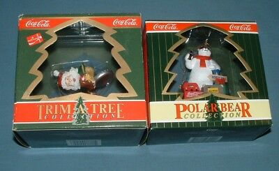 Coca Cola Trim A Tree & Polar Bear Collection Ornaments - 1991/96 - Mib