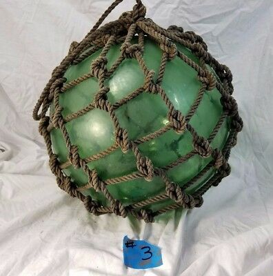 """Antique Hand Blown Green Glass Mold Fishing Float Buoy Japanese 12"""" Tall 40"""" D"""