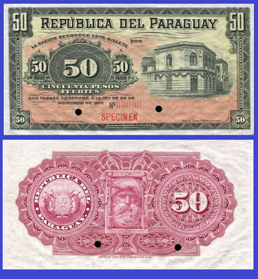 10 Pesos P-129 UNC /> Over Century Old Hand Sig Paraguay L 1907 Issued 1912