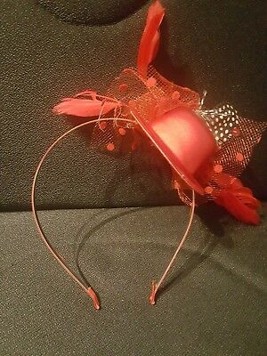 New Red Hair Band Fascinator Tiny Hat with Feathers & Bows Ascot Epsom Races