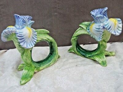 Lot of 2 OCI Omnibus Vintage  Porcelain Blue Flower Napkin Holder Rings -EC