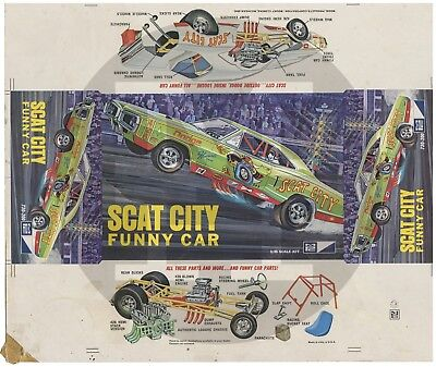Rare 1970 MPC Model Kit Packaging Factory Proof Illustration SCAT CITY FUNNY CAR