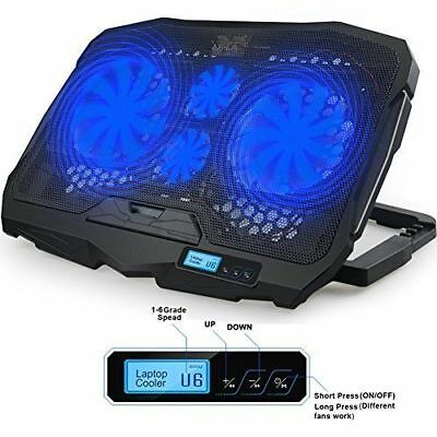 Laptop Cooling Pad w/ 4 Quiet Fans USB Powered Notebook Cooler LED LCD Display