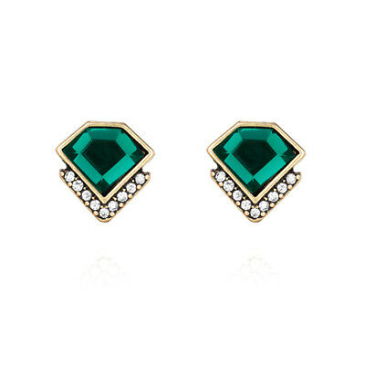 Vintage Art Deco Style Stud Earrings Green Antique Bronze Quality Gift UK