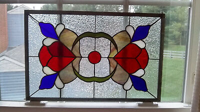 Vintage Stained Glass Hanging Window Panel Abstract Design