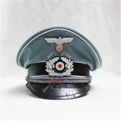 German WH Officer Wool Crusher Cap Collection Military Cap Visor Hat