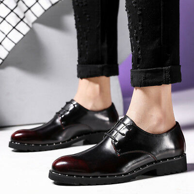 c8b373cba14 Men s Oxford Leather Shoes Business Formal Dress Wedding Party Flats Lace  up New
