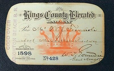 SUPER RARE ~ 1898 Kings County Elevated Railway Pass