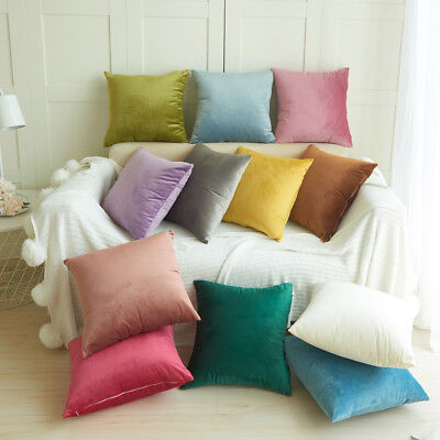 Velvet Pillow Sofa Waist Throw Cushion Cover Home Cushion Cover Case 18'' Size P