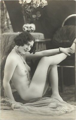 Rare original old French real photo postcard Art Deco nude study 1920s RPPC #324