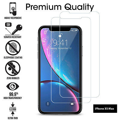 For Apple iPhone XS Max Tempered Glass Screen Protector Clear Transparent 2 Pack
