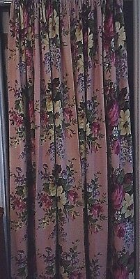 "Vintage Barkcloth (?) Cotton Floral Drapes~Panels One Pair~Huge ""Pink Roses~#1"