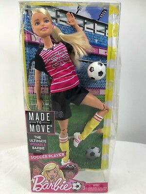 """Barbie Made to Move Soccer Player Doll 12"""""""