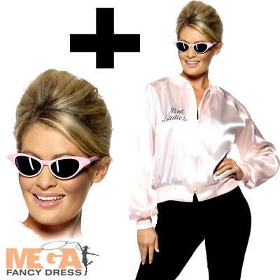 Pink Ladies Official Jacket + Sunglasses Grease Fancy Dress 1950s Adults Costume