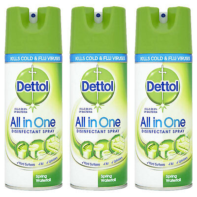 Dettol All In One Spray 400ML Spring Waterfall Kills 99.9% Bacteria GREEN NEW