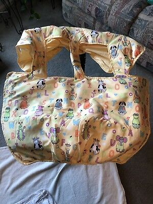 Yellow Alphabet Cart And Highchair Cover W/animals, Wipes Easy, Ties&velcro