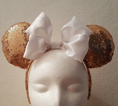 Handmade Mickey Mouse Ears Headband  Rose Gold Sequins With Large White Bow