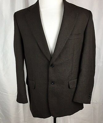 Cotton's Ensley Brown Black Mini Houndstooth Blazer Jacket Men's 42R Poly Wool