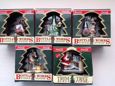 Lot Of 5 Vintage 1995 Coca Cola Trim A Tree Bottling Works Christmas Ornaments